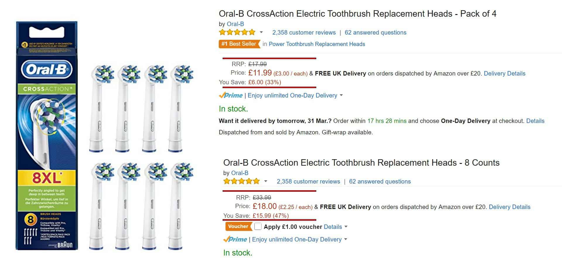 Example of electric toothbrush discount voucher on Amazon