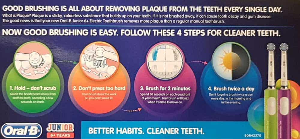 Oral-B Junior - Info Card Included With Brushing Advice