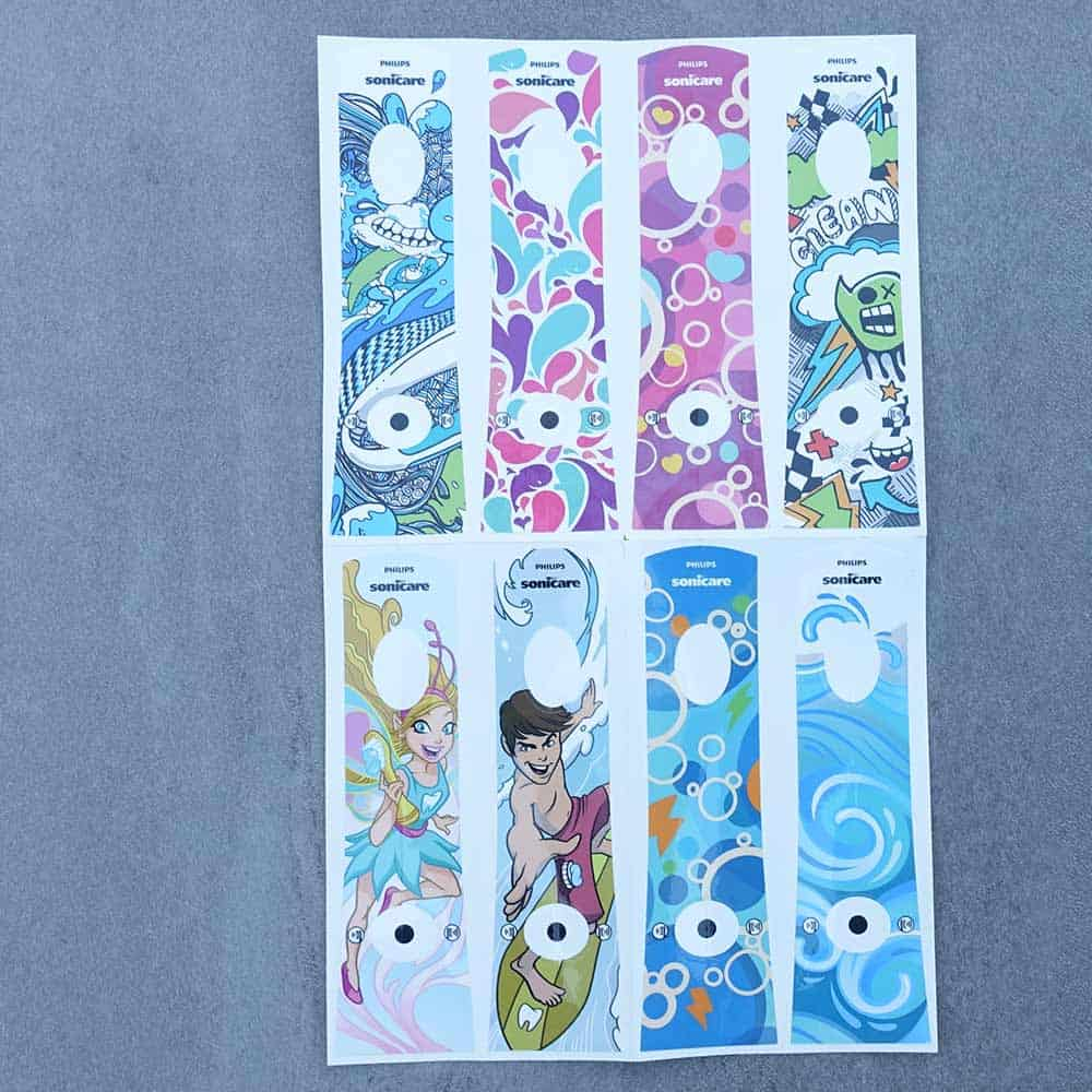 The various stickers available for Sonicare For Kids