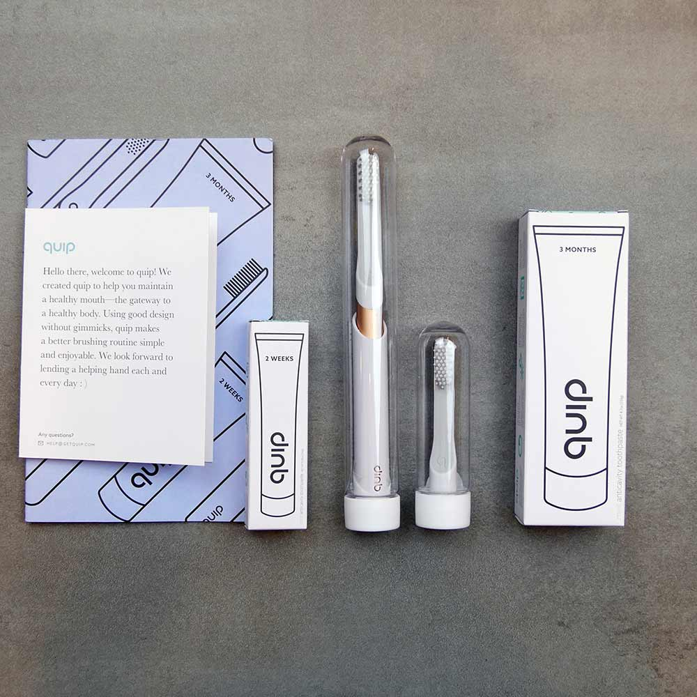 Quip Toothbrush Box Contents