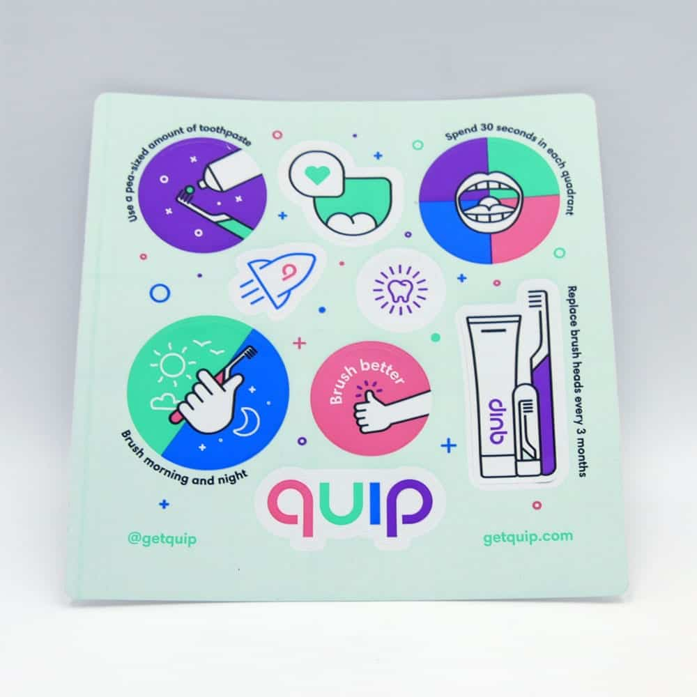 Photo of stickers that come with quip kids brush