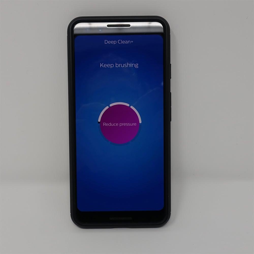Sonicare smartphone app showing reduce pressure