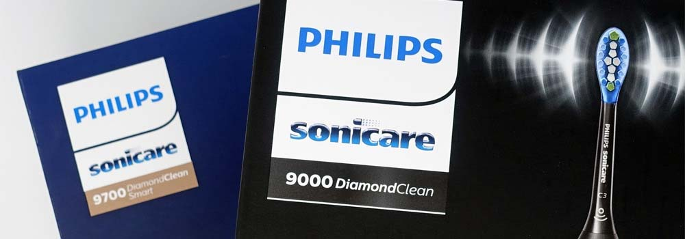 Logos on box of Sonicare DiamondClean 9000 and DiamondClean Smart
