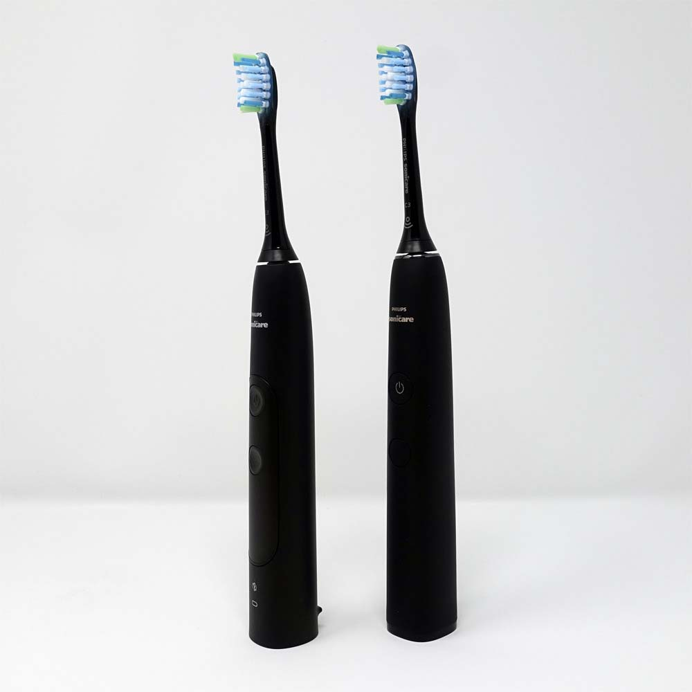 Sonicare ExpertClean 7300 next to DiamondClean 9000 both black in colour