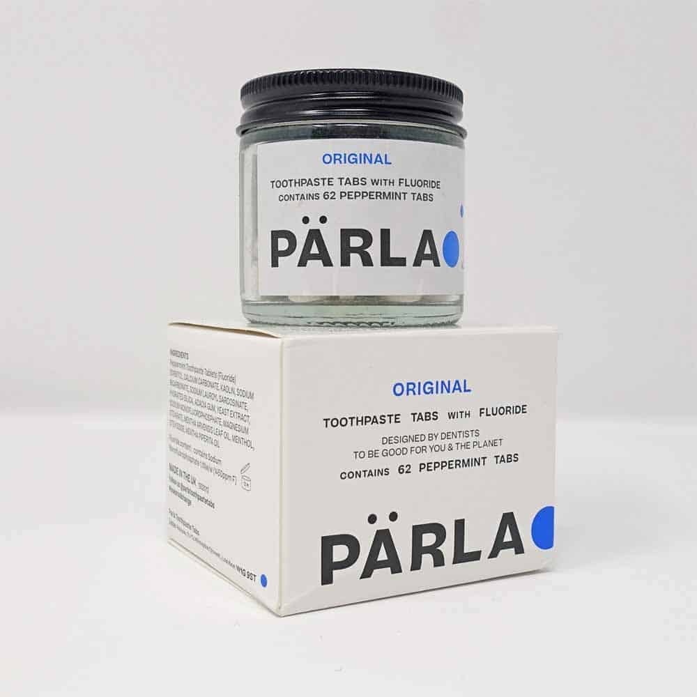 Parla tablets in a glass jar and with box