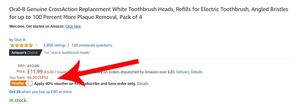 Example of electric toothbrush coupon on Amazon