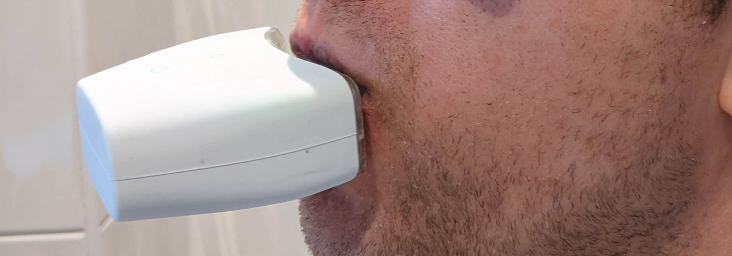 AutoBrush V4 in Mouth - Side view