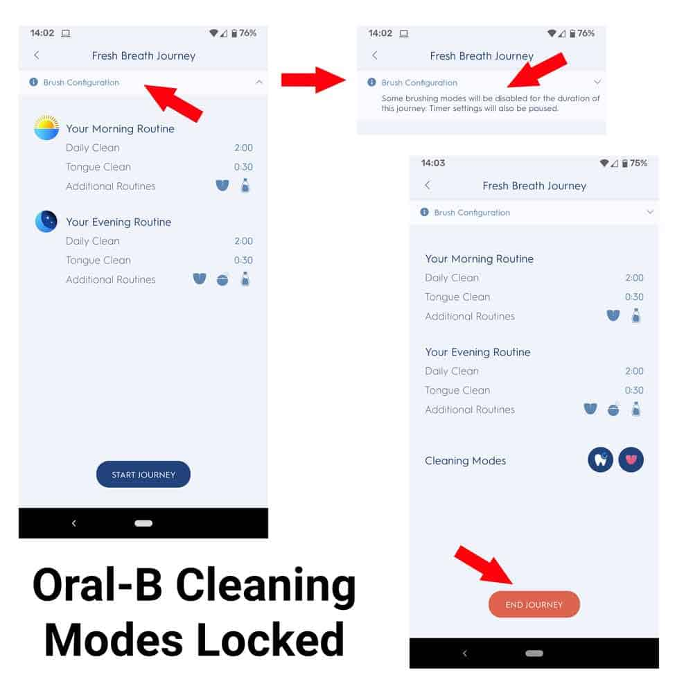 Locked Oral-B Cleaning Modes