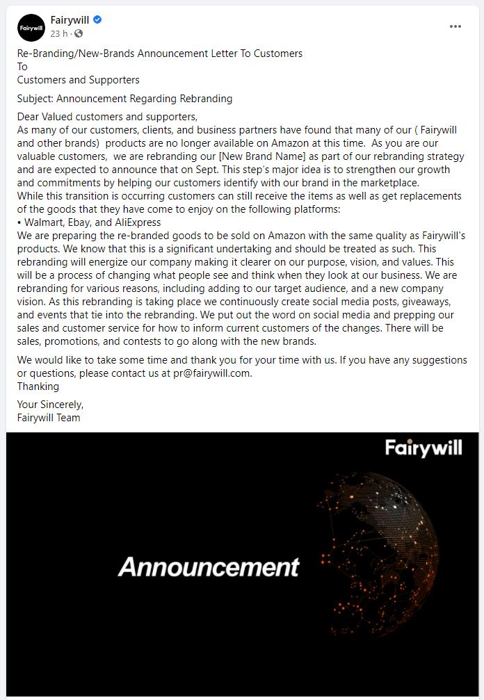 Fairywill Announcement