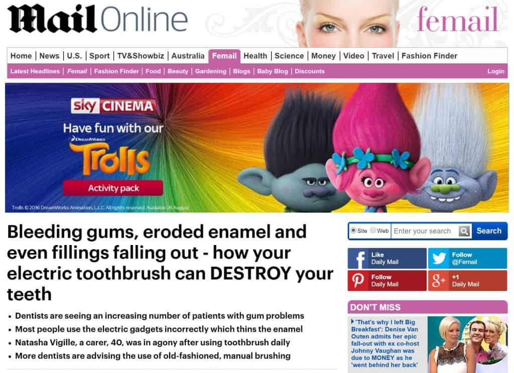 Daily Mail headline suggesting toothbrushes destroy teeth