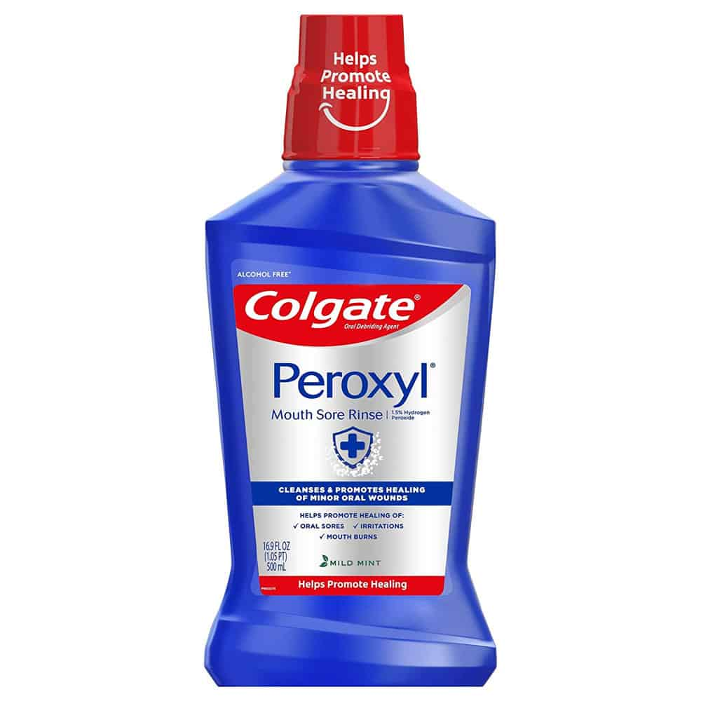 Front view Colgate Peroxyl mouth rinse bottle