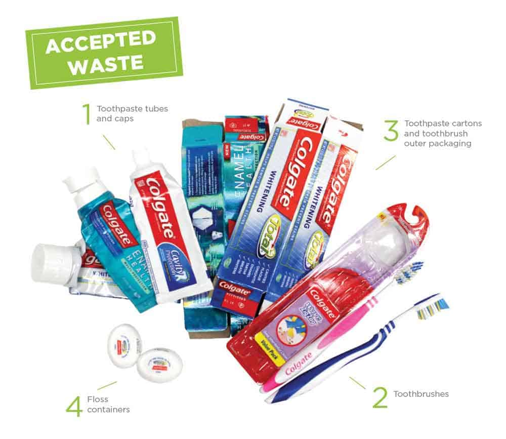 Accepted oral care products Colgate recycling progam