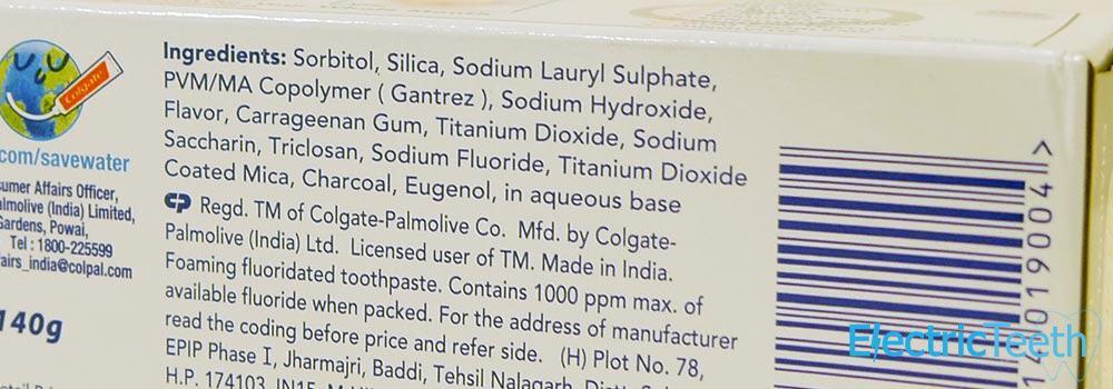 Ingredients of Colgate Total Charcoal Deep Clean Toothpaste